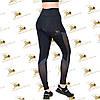 Cпортивные женские черные лосины со вставками сетки, фото 2