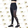 Cпортивные женские черные лосины со вставками сетки, фото 3