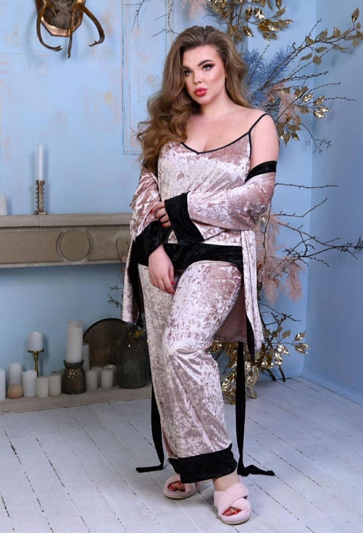 Спальний комплект жіночий халат майка штани мармуровий оксамит розмір: 52, 54, 56