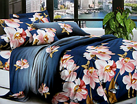 """3D Двоспальне постільна білизна """"Софія"""" квіти на синьому"""