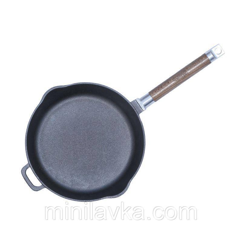 Сковорода чугунная с 2-мя носиками без крышки, съемная ручка 24 см БИОЛ 1224