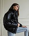 Куртка женская черная экокожа от бренда ТУР модель Хлоя, размеры: S, M, фото 5