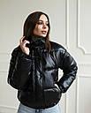 Куртка женская черная экокожа от бренда ТУР модель Хлоя, размеры: S, M, фото 2