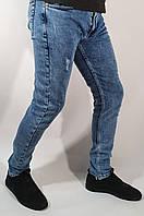"""Джинсы молодежные стильные мужские синие зауженные с царапками """"Fashion Mario"""""""