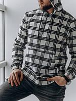 Рубашка мужская весенняя осенняя в клетку Cell с капюшоном белая-черная   Кофта мужская коттоновая ЛЮКС, фото 1