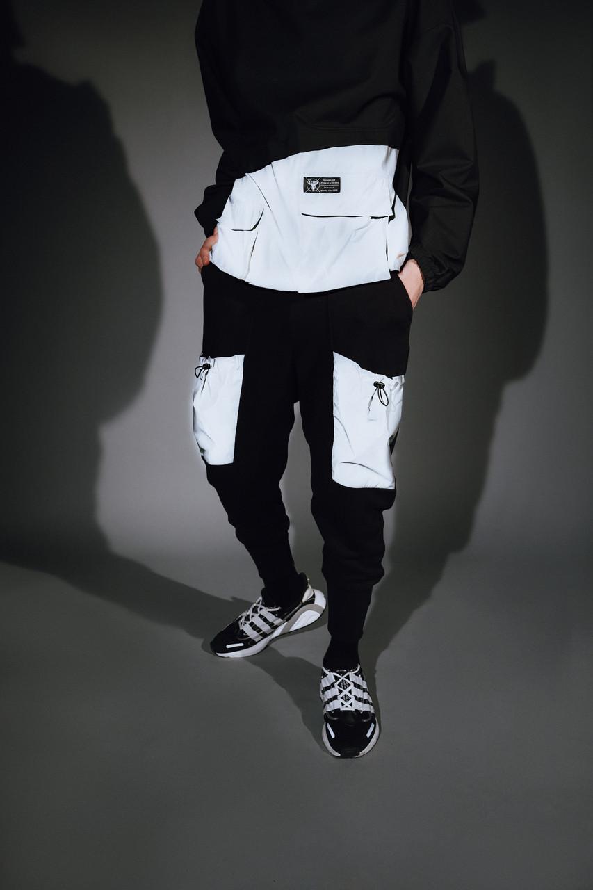 Спортивные штаны мужские черные с рефлективными карманами от бренда ТУР модель Тайвен
