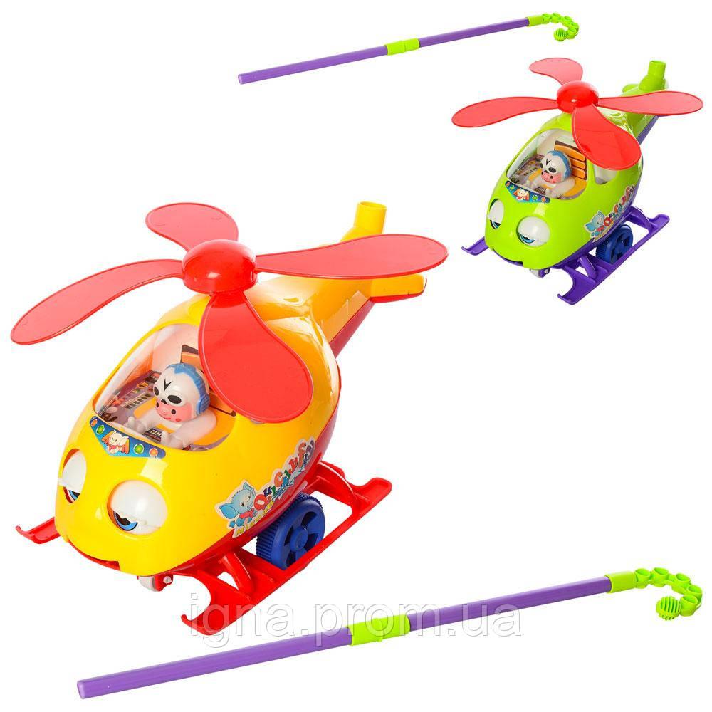 Каталка 0302 гелікоптер, на палиці, оберт.гвинт, рухомі очі/язик, 2 кольори, муз., кул., 31-22-12см.
