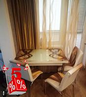 Обеденная группа комплект кухонной мебели стол и стулья,Brow каленное стекло с оригинальным декором для кухни