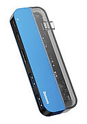 USB Хаб Baseus Transparent Series Type-C на 2 x USB 3.0 + 2 x Type-C + 1 x HDMI Синій (CAHUB-TD03)