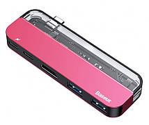 USB Хаб Baseus Transparent Series Type-C на 2 x USB 3.0 + 2 x Type-C + 1 x HDMI Рожевий (CAHUB-TD09)