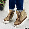 Жіночі черевики демісезонні коричневі на танкетці з еко замші Всередині текстильна підкладка, фото 4