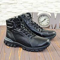 Ботинки мужские на шнуровке и молнии, натуральная черная кожа, зима. 43 размер