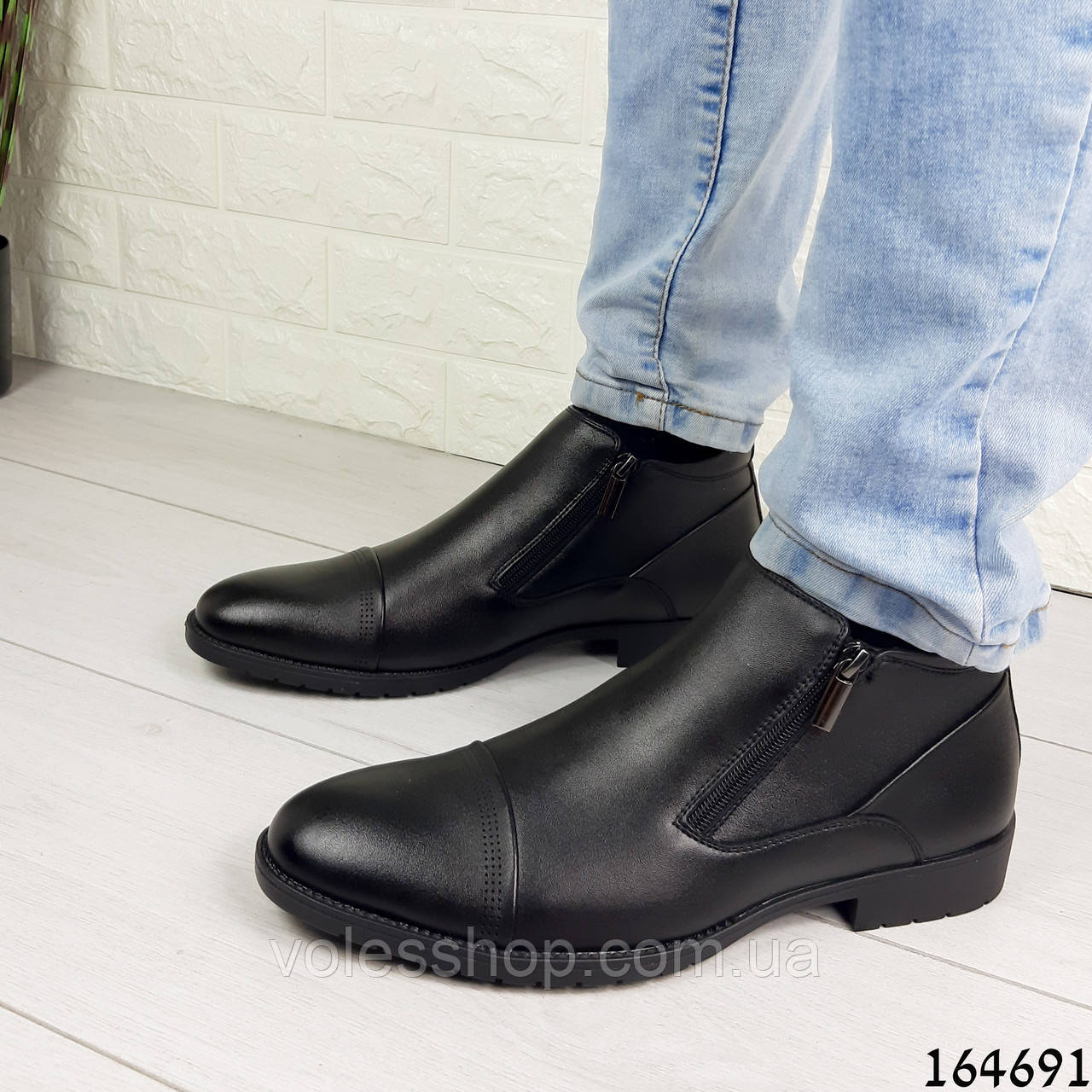 Ботинки туфли мужские демисезонные черные из эко кожи внутри флис (легкий эко мех)