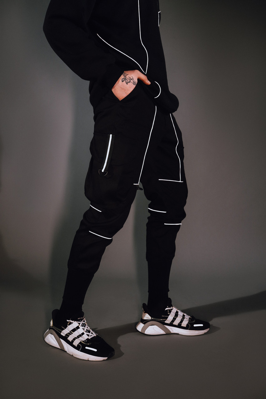Зауженные карго штаны черные с рефлективным кантом мужские от бренда ТУР Рейден