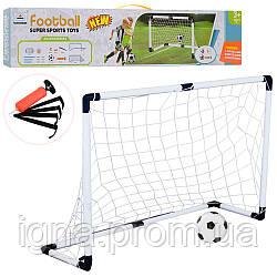 Футбольні ворота M 6024 (12шт) 120-40-80см, сітка, м'яч, насос, в кор-ке, 73-16,5-7,5 см