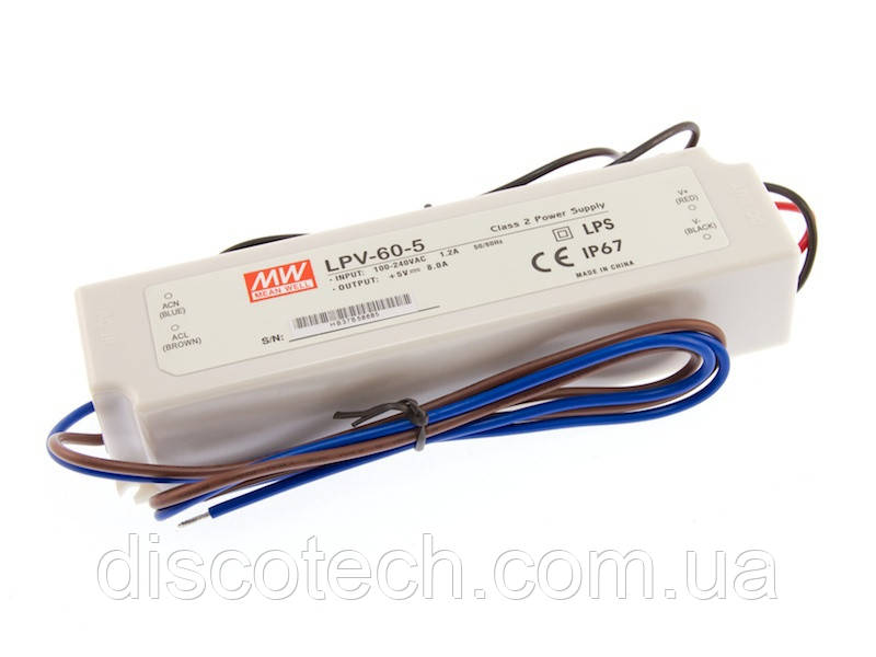 Блок живлення 5V/ 40W 8А IP67 LPV-60-5 Mean Well