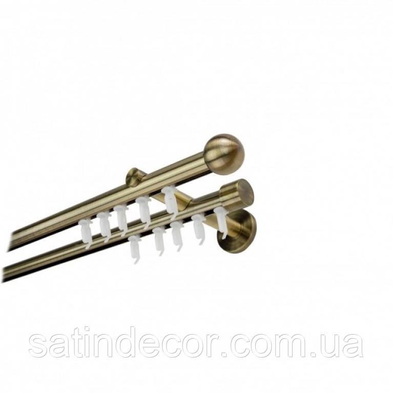 Карниз для штор Імпрессіон КУЛЯ БОЛОНЬ подвійний 19+19 мм 1.6 м Античне золото