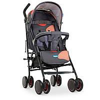 Візок дитячий M 4244 Gray Orange прогулянковий, тростина, кошик, сіро-помаранчевий.