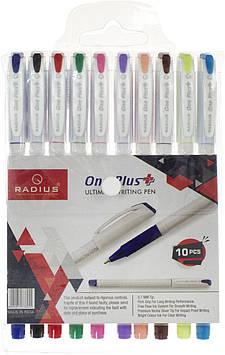 """Набір ручок кульк. """"Radius"""" One Plus білий корпус 10кольор.(10)(100)"""