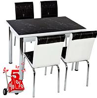 Обеденная группа комплект кухонной мебели стол и стулья,Mermb,каленное стекло с оригинальным декором для кухни