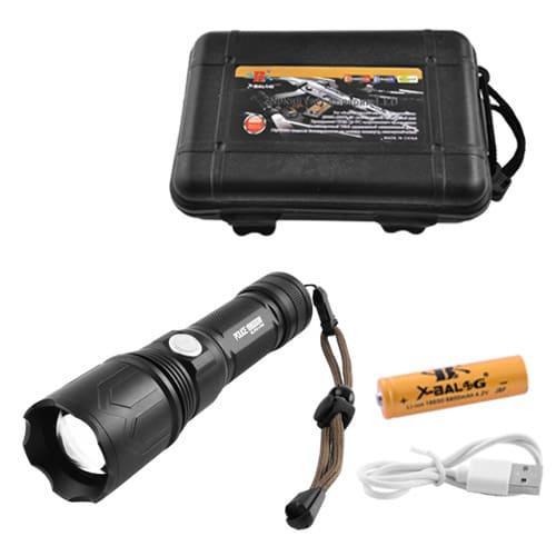Фонарь Police P511-P50, ЗУ microUSB, 1x18650/3xAAA, zoom, индикация заряда, ремешок, Box