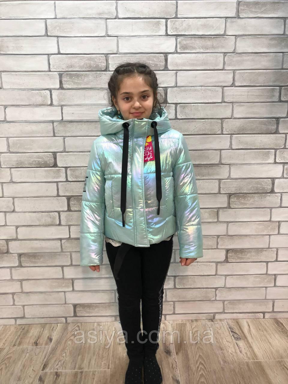 "Куртка весенняя ""Софи"" на девочку перламутрово-мятного цвета"