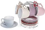 Набор чайный: 6 чашек 250м + 6 блюдец на металлической подставке, фото 3