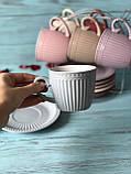 Набор чайный: 6 чашек 250м + 6 блюдец на металлической подставке, фото 7
