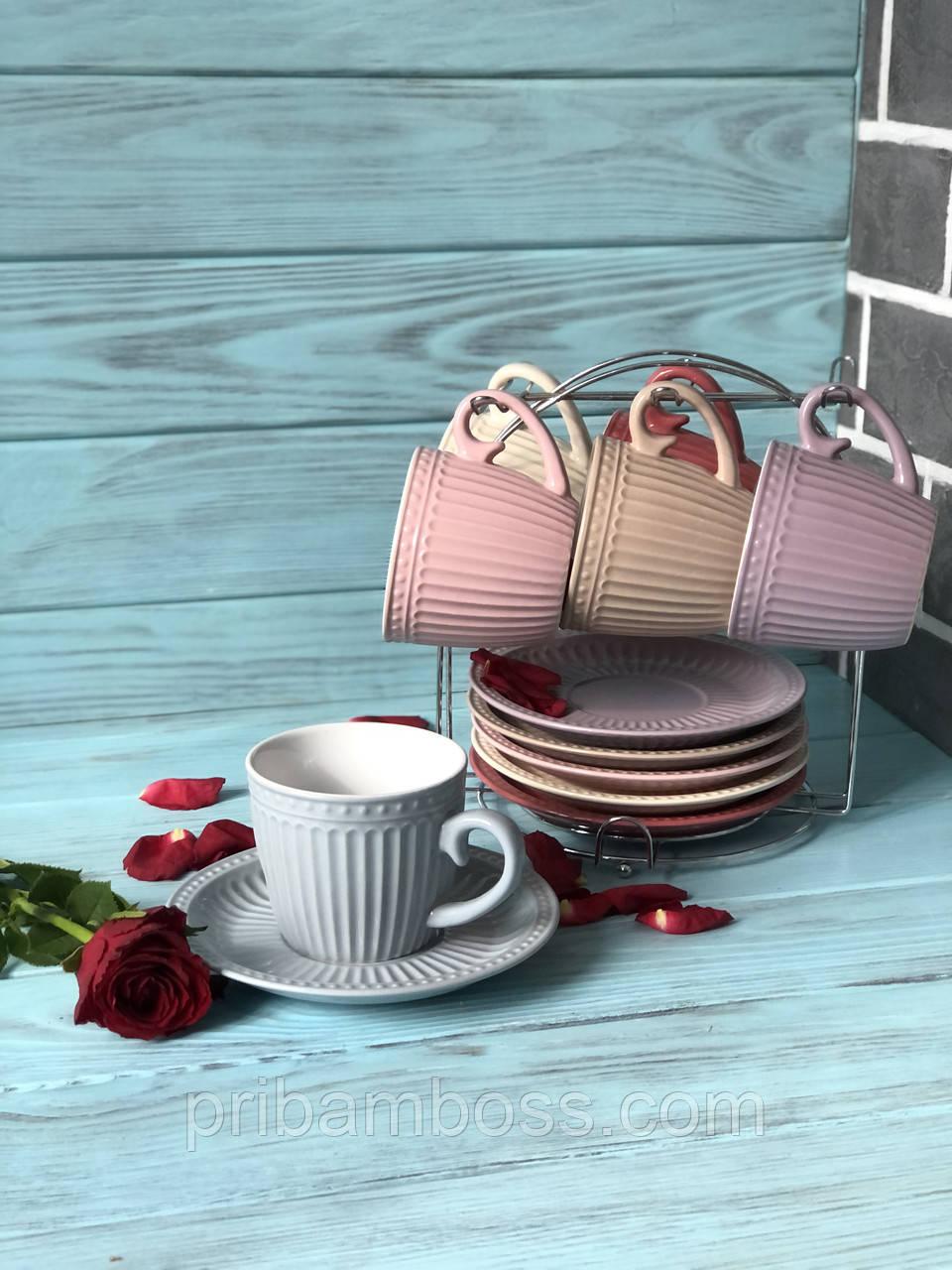 Набор чайный: 6 чашек 250м + 6 блюдец на металлической подставке