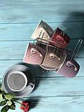 Набор чайный: 6 чашек 250м + 6 блюдец на металлической подставке, фото 2