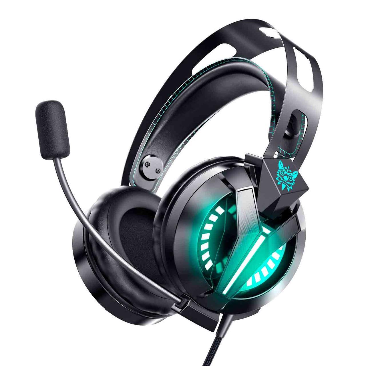 Ігрові навушники COMBATWING M180 чорні з мікрофоном і LED підсвічуванням, геймерські, ігрові навушники