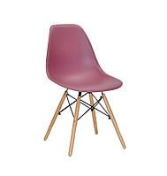 Дизайнерський стілець Nik N червоний на букових дерев'яних ніжках, фото 1