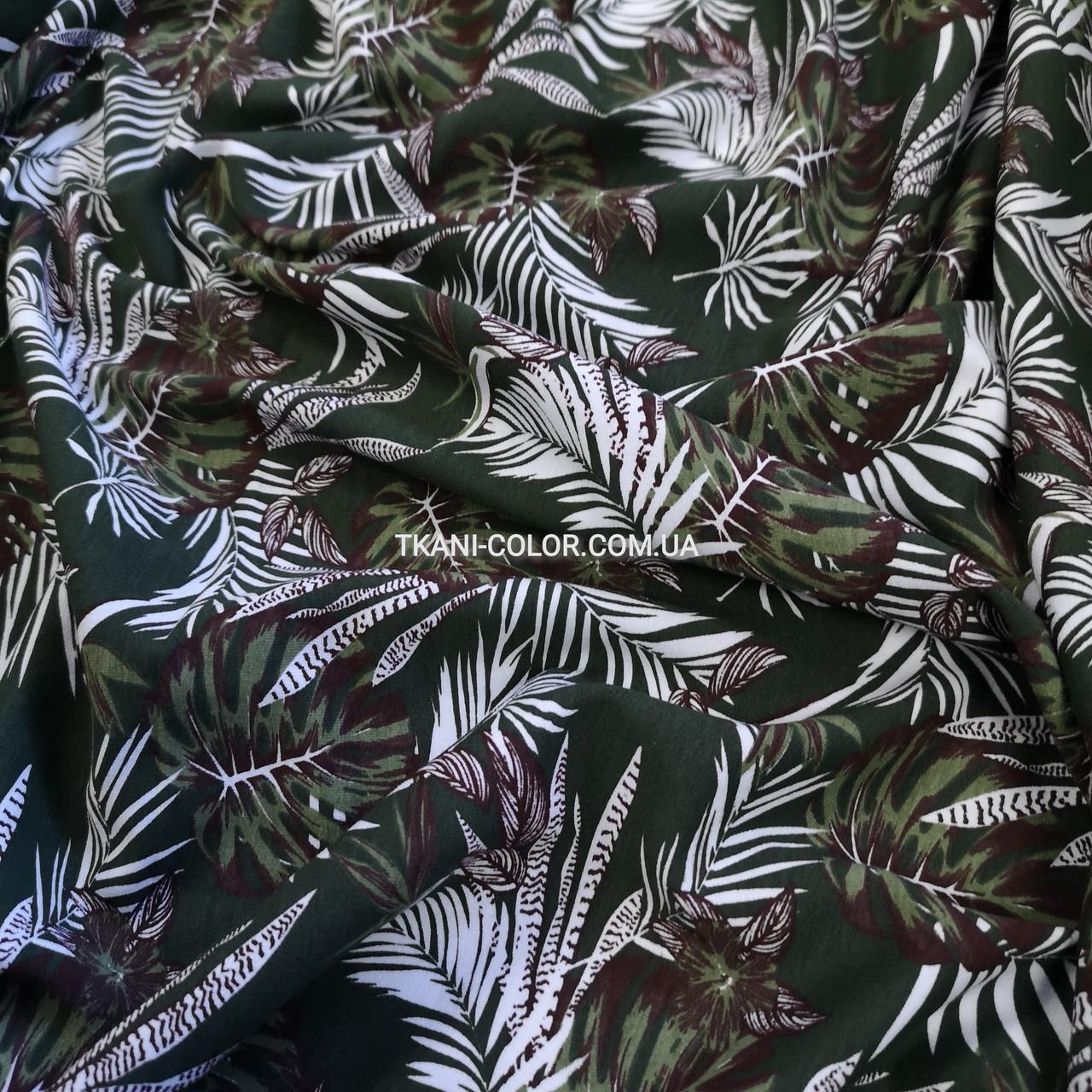 Футер двунитка принт Tropic хаки, Турция 180см