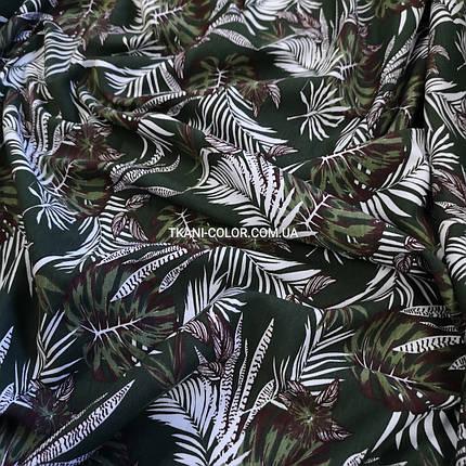 Футер двунитка принт Tropic хаки, Турция 180см, фото 2