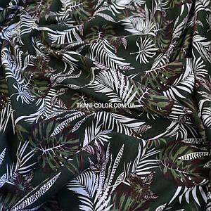 Футер двунітка принт Tropic хакі, Туреччина 180см