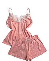 Пижама женская хлопковая шорты+майка с кружевом, фото 1