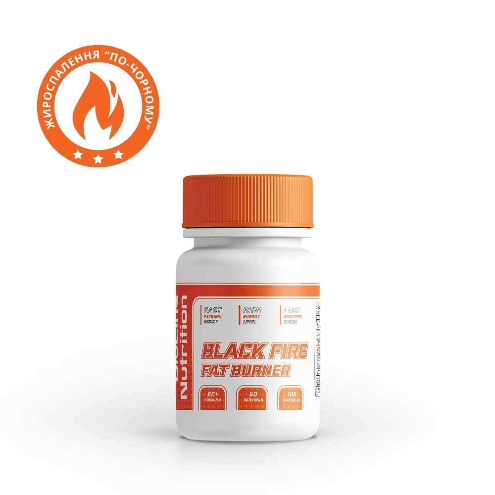 Жироспалювач ефедрин, кофеїн комплекс для спалювання жиру Black Fire BioLine Nutrition Німеччина | 100 капс |