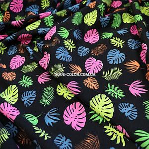 Футер двунитка принт цветные листья, Турция 180см