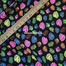 Футер двунитка принт цветные листья, Турция 180см, фото 3