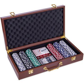 Набір для покеру в кожзам валізі на 300 фішок номіналом (р-р 40х21х7,5см)