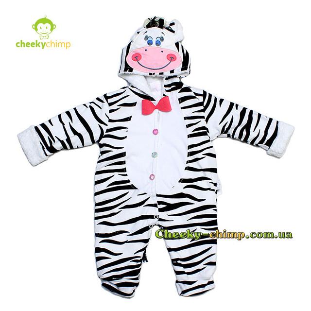 Комбинезон на махре для девочки Zebra на рост 56, 62 см