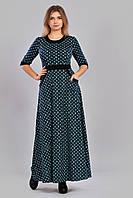 Стильное трикотажное принтированное платье в пол