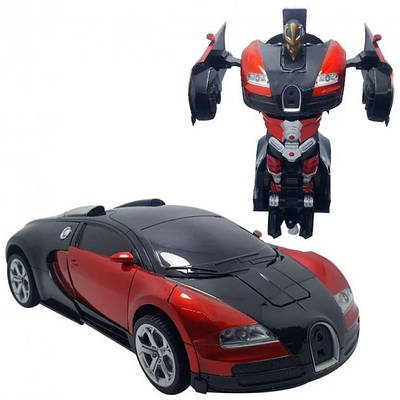 Машинка трансформер с пультом Bugatti Robot Car Size 118 Красная 184745