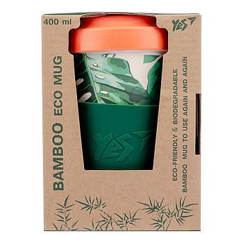Ударопрочный индивидуальный стакан из бамбукового волокна с крышкой YES Vivere 400мл (707309)