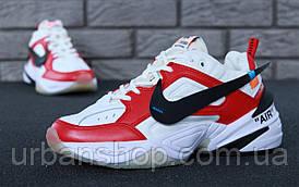 Чоловічі кросівки Nike M2K Tekno White/Red. ТОП Репліка ААА класу.
