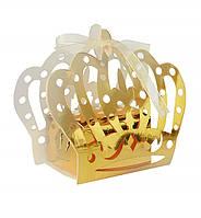 "Бонбоньерка (коробочка для конфет) ""Корона"", (10шт.), цвет - золото (зеркало)"
