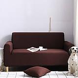 Чохол на диван універсальний для меблів колір коричневий 175-230см Код 14-0566, фото 3