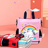 Сумка портфель Senkey&Style, шкільний рюкзак через плече рожевий Єдиноріг Код 10-6445, фото 2