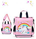 Сумка портфель Senkey&Style, шкільний рюкзак через плече рожевий Єдиноріг Код 10-6445, фото 6