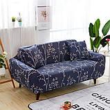 Чохол на диван універсальний для меблів колір синій сакура 90-140см Код 14-0595, фото 2